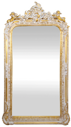 Casa Padrino baroque wall mirror antique white / gold 85 x H. 160 cm - Magnificent Baroque Mirror with Beautiful Decorations and Decorative Angel Figures
