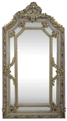 Casa Padrino baroque wall mirror cream antique style / gold 115 x H. 215 cm - Magnificent Baroque Mirror with Beautiful Decorations - Furniture in Baroque Style