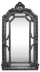 Casa Padrino baroque wall mirror silver 115 x H. 215 cm - Magnificent Baroque Mirror with Beautiful Decorations - Furniture in Baroque Style