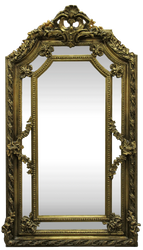 Casa Padrino baroque wall mirror gold 115 x H. 215 cm - Magnificent Baroque Mirror with Beautiful Decorations - Furniture in Baroque Style