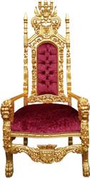 Casa Padrino Barock Thron Sessel Bordeaux Rot Muster / Gold Königssessel - Hochzeitssessel - Riesensessel