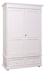 Casa Padrino country-style wardrobe white - clothes cabinet Shabby H 206 cm W 127 cm D 61 cm - Country Style Furniture