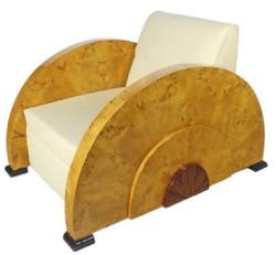Casa Padrino Art Deco Sessel Weiß / Hellbraun 75 x 110 x H. 80 cm - Lounge Sessel - Art Deco Möbel - Luxus Qualität
