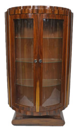 Casa Padrino Art Deco Showcase Brown 100 x 45 x H. 165 cm - Mahogany Display Cabinet with 2 Glass Doors - Art Deco Living Room Furniture