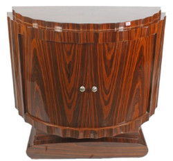 Casa Padrino Art Deco Bedside Table Brown 100 x 45 x H. 95 cm - Semicircular Mahogany Side Table with 2 Doors - Luxury Quality