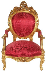 Casa Padrino Baroque Throne Armchair Bordeaux Red Pattern / Gold 70 x 70 x H. 120 cm - Sumptuous Handcrafted Royal Armchair - Wedding Armchair - Baroque Furniture
