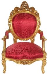 Casa Padrino Barock Thron Sessel Bordeaux Rot Muster / Gold 70 x 70 x H. 120 cm - Prunkvoller handgefertigter Königssessel - Hochzeitssessel - Barock Möbel
