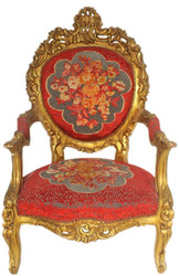 Casa Padrino Baroque Throne Armchair Red Floral Pattern / Gold 70 x 70 x H. 120 cm - Sumptuous Handcrafted Royal Armchair - Wedding Armchair - Baroque Furniture