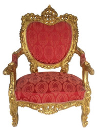 Casa Padrino Baroque Throne Armchair Bordeaux Red Pattern / Gold 70 x 70 x H. 110 cm - Sumptuous Handcrafted Royal Armchair - Wedding Armchair - Baroque Furniture