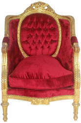 Casa Padrino Baroque Throne Armchair Bordeaux Red / Gold 70 x 70 x H. 110 cm - Sumptuous Handcrafted Royal Armchair - Wedding Armchair - Baroque Furniture
