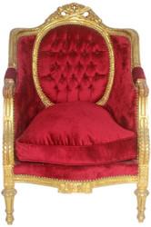 Casa Padrino Barock Thron Sessel Bordeaux Rot / Gold 70 x 70 x H. 110 cm - Prunkvoller handgefertigter Königssessel - Hochzeitssessel - Barock Möbel