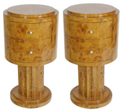 Casa Padrino Art Deco Side Table Set Light Brown Ø 40 x H. 75 cm - Round Root Wood Side Tables with 2 Drawers - Luxury Quality