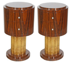 Casa Padrino Art Deco Side Table Set Brown / Light Brown Ø 40 x H. 75 cm - Round Mahogany & Root Wood Side Tables with 2 Drawers - Luxury Quality