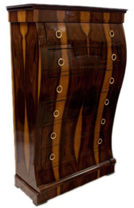 Casa Padrino Art Deco Dresser with 6 Drawers Brown / Light Brown 95 x 45 x H. 155 cm - Mahogany & Burl Wood Drawer Cabinet - Living Room Cabinet - Art Deco Furniture