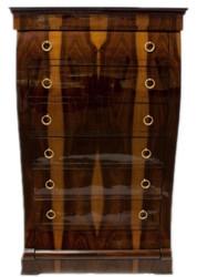 Casa Padrino Art Deco Dresser with 6 Drawers Brown / Light Brown 95 x 45 x H. 155 cm - Mahogany & Burl Wood Drawer Cabinet - Living Room Cabinet - Art Deco Furniture 2