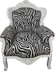 Casa Padrino Baroque Armchair King Zebra / White - Antique Style Furniture Black White
