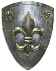 Casa Padrino Eisen Ritterschild mit dekorativer französischer Lilie Antik Silber / Gold 54 x H. 71 cm - Mittelalter Deko - Wanddeko