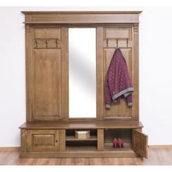 Casa Padrino Landhausstil Garderobe holzfarben 180 x 41 x H. 210 cm - Massivholz Garderobenschrank mit Spiegel - Landhausstil Garderobenmöbel