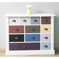 Casa Padrino country style chest of drawers white with 12 colorful drawers - office furniture in country style