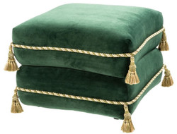 Casa Padrino luxury stool dark green / gold / green 57 x 57 x H. 42 cm - Fine Velvet Stool with Tassels - Luxury Furniture
