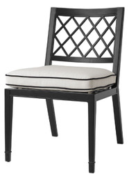 Casa Padrino luxury dining chair matte black / white 53 x 66 x H. 87 cm - Aluminum Kitchen Chair with Cushion - Dining Room Furniture
