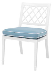 Casa Padrino luxury dining chair white / light blue 53 x 66 x H. 87 cm - Aluminum Kitchen Chair with Cushion - Dining Room Furniture