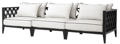 Casa Padrino Luxury Living Room Sofa with Cushions Matt Black / White 275.5 x 93 x H. 69 cm - Living Room Furniture – Bild 1