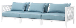 Casa Padrino Luxury Living Room Sofa with Cushions White / Light Blue 275.5 x 93 x H. 69 cm - Living Room Furniture