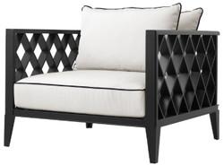Casa Padrino Luxus Wohnzimmer Sessel mit Kissen Mattschwarz / Weiß 96,5 x 93,5 x H. 68,5 cm - Wohnzimmer Möbel