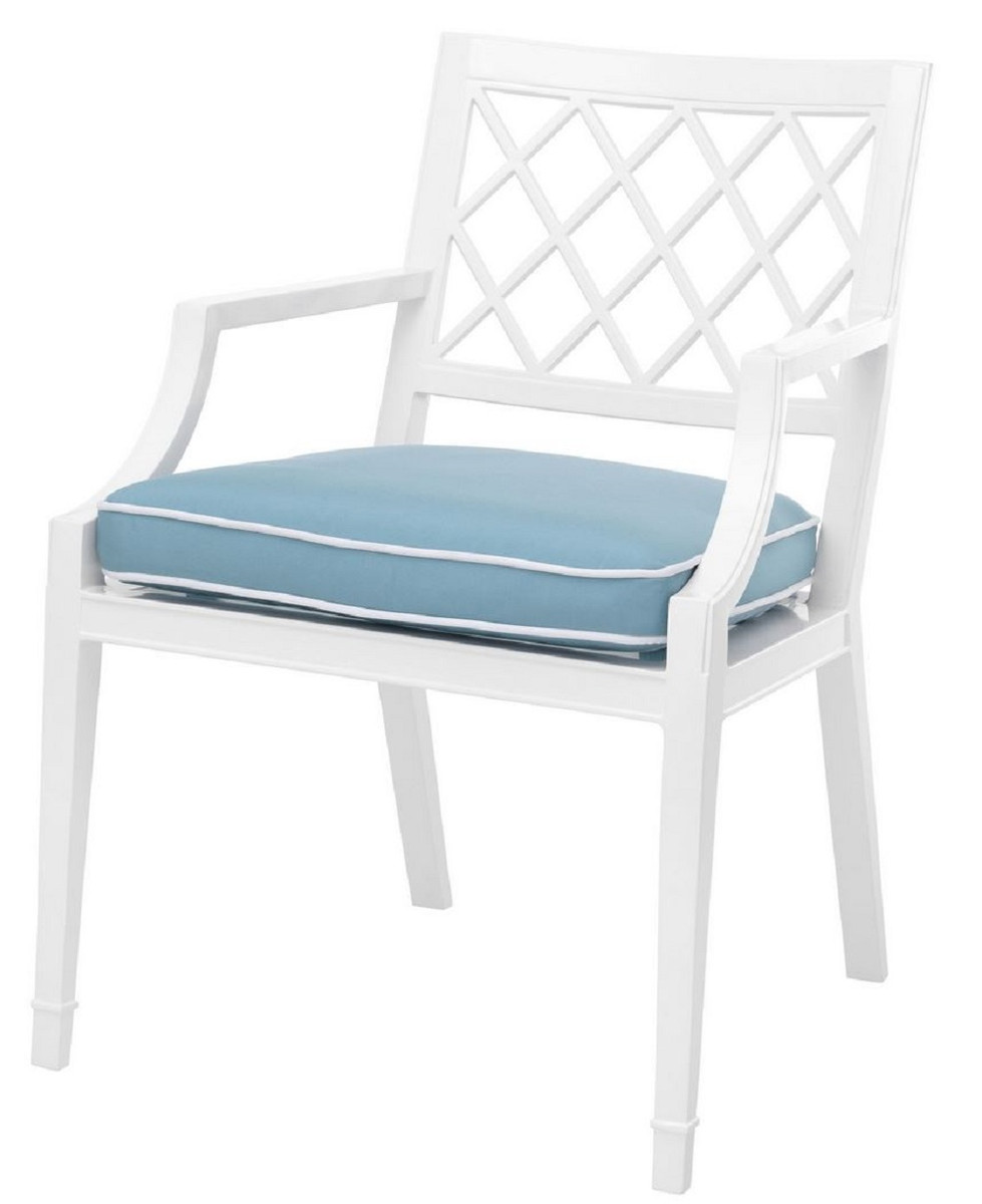 Casa Padrino Luxury Dining Chair With Armrests And Cushion White Light Blue 60 X 66 X H 87 Cm Aluminum Kitchen Chair Dining Room Furniture