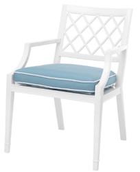 Casa Padrino Luxus Esszimmerstuhl mit Armlehnen und Kissen Weiß / Hellblau 60 x 66 x H. 87 cm - Aluminium Küchenstuhl - Esszimmermöbel