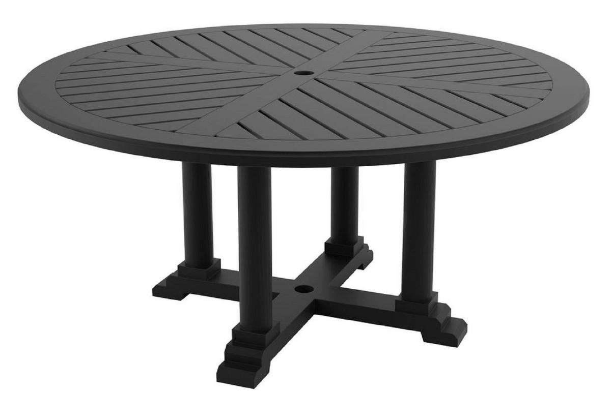 Casa Padrino table de salle à manger de luxe noir mat Ø 160 x H. 75 cm -  Table de Cuisine Ronde en Aluminium de Haute Qualité - Table de Jardin