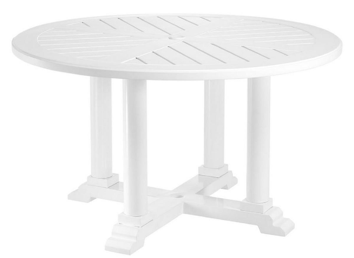Casa Padrino table de salle à manger de luxe blanc Ø 130 x H. 75 cm - Table  de Cuisine Ronde en Aluminium de Haute Qualité - Table de Jardin
