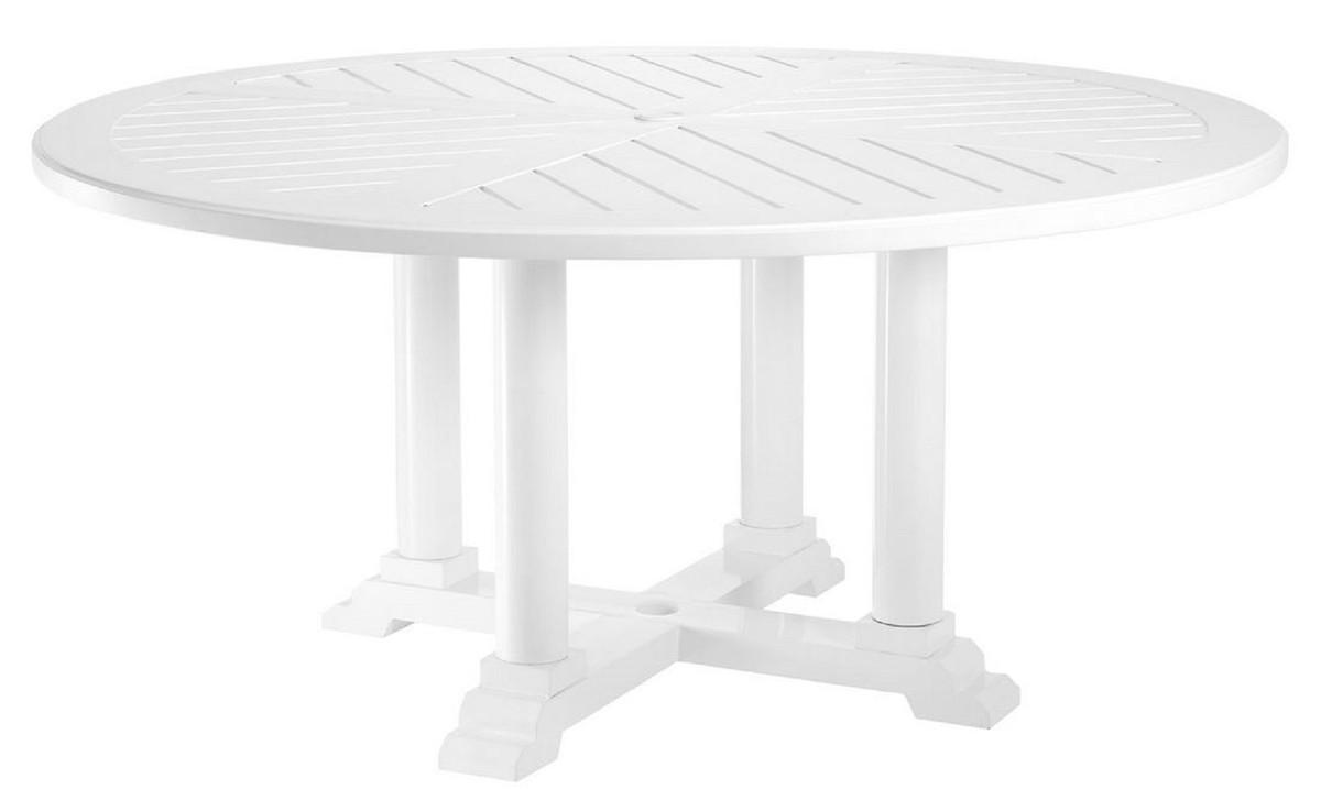 Casa Padrino table de salle à manger de luxe blanc Ø 160 x H. 75 cm - Table  de Cuisine Ronde en Aluminium de Haute Qualité - Table de Jardin