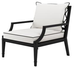 Casa Padrino Luxus Sessel mit Kissen Mattschwarz / Weiß 68,5 x 80 x H. 79 cm - Sessel aus hochwertigen strapazierbarem Aluminium - Wohnzimmermöbel - Gartenmöbel - Gastronomie Möbel