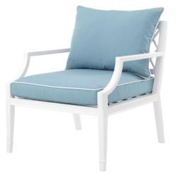 Casa Padrino Luxus Sessel mit Kissen Weiß / Hellblau 68,5 x 80 x H. 79 cm - Sessel aus hochwertigen strapazierbarem Aluminium - Wohnzimmermöbel - Gartenmöbel - Gastronomie Möbel