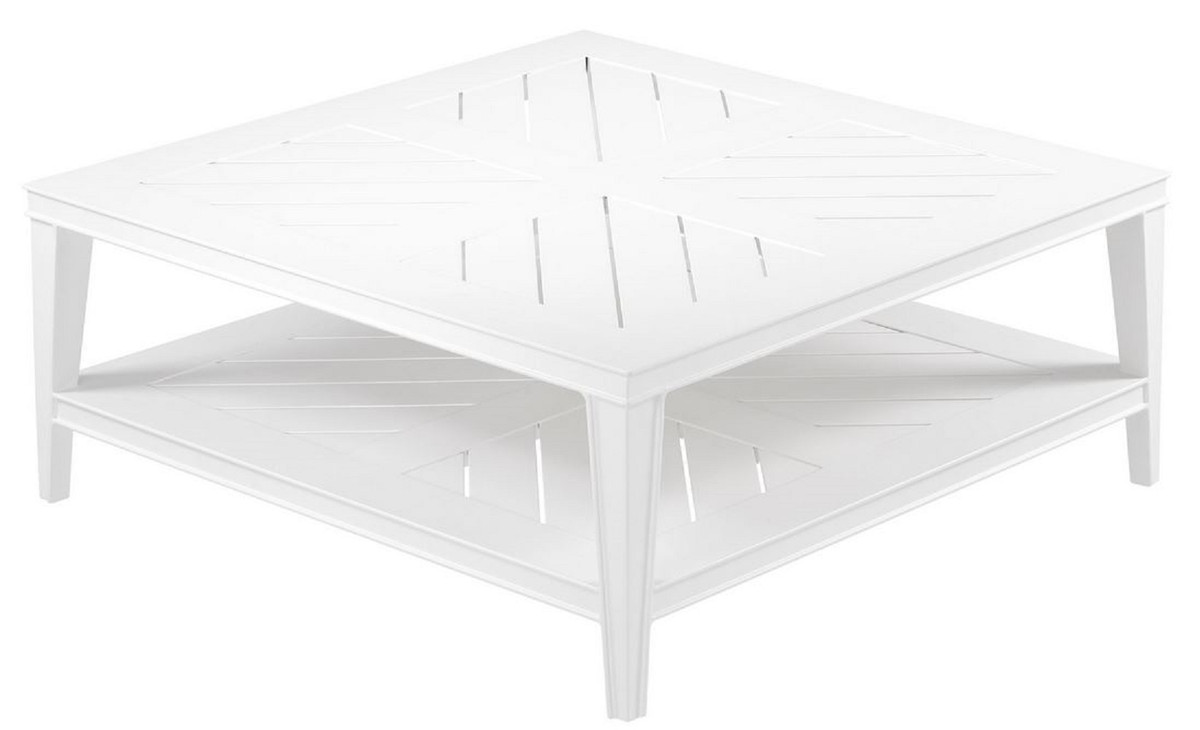 Casa Padrino Table Basse De Luxe Blanc 100 X 100 X H 42 Cm Table Basse Carrée En Aluminium De Haute Qualité Table De Jardin