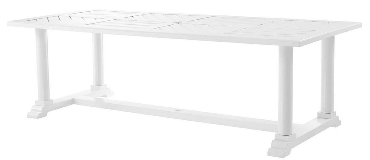 Casa Padrino table de salle à manger de luxe blanc 240 x 103 x H. 75 cm -  Table de Cuisine Rectangulaire en Aluminium de Haute Qualité - Table de ...