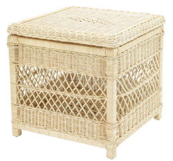 Casa Padrino luxury rattan side table with lid natural 50 x 50 x H. 49.5 cm - Luxury Living Room Furniture