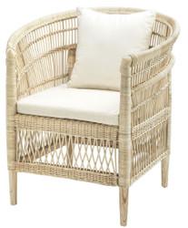 Casa Padrino Luxus Rattan Sessel mit Kissen Naturfarben / Cremefarben 77 x 67,5 x H. 86,5 cm - Luxus Wohnzimmer Möbel