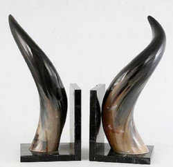 Casa Padrino Bookends Set Horns Natural / Black 16 x 17 x H. 48 cm - Luxury Decoration Accessories