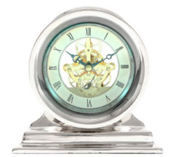 Casa Padrino Art Nouveau Table Clock Silver 18 x 8.5 x H. 17.5 cm - Desk Clock - Living Room Office Decoration Accessories