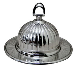 Casa Padrino Art Nouveau Butter Dish Silver H. 14 cm - Round Brass Butter Dish with Lid and Stirrup Handle