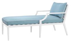 Casa Padrino Luxus Chaiselongue Weiß / Hellblau 68,5 x 157 x H. 79 cm - Liegesessel aus hochwertigen strapazierbarem Aluminium - Wohnzimmermöbel - Gartenmöbel - Gastronomie Möbel