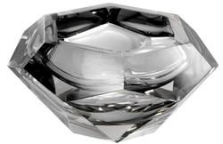 Casa Padrino Luxus Kristallglas Schüssel Grau 20 x 20 x H. 9,5 cm - Sechseckige Deko Schüssel - Luxus Accessoires