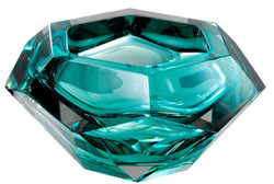 Casa Padrino Luxury Crystal Glass Bowl Turquoise 20 x 20 x H. 9.5 cm - Hexagonal Decorative Bowl - Luxury Accessories