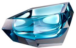 Casa Padrino Luxus Kristallglas Schüssel Blau 22 x 14 x H. 10,5 cm - Designer Deko Schüssel - Deko Accessoires