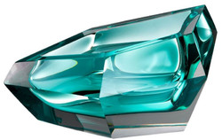 Casa Padrino Luxury Crystal Glass Bowl Turquoise 22 x 14 x H. 10.5 cm - Designer Deco Bowl - Decorative Accessories