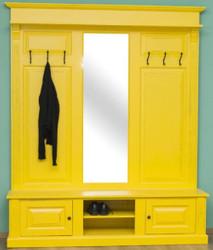 Casa Padrino Landhausstil Garderobe Antik Gelb 180 x 41 x H. 210 cm - Massivholz Garderobenschrank mit Spiegel - Landhausstil Garderobenmöbel