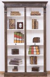 Casa Padrino Landhausstil Bücherschrank Braun / Weiß 120 x 37 x H. 197 cm - Massivholz Schrank - Regalschrank - Wohnzimmerschrank - Landhausstil Möbel